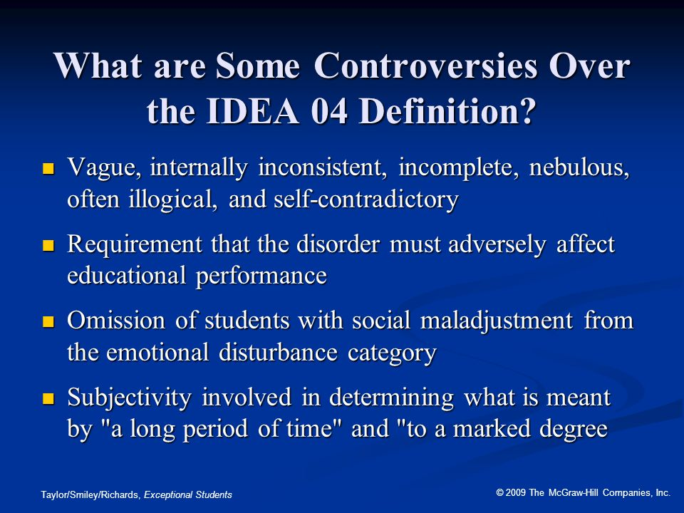 What are Some Controversies Over the IDEA 04 Definition