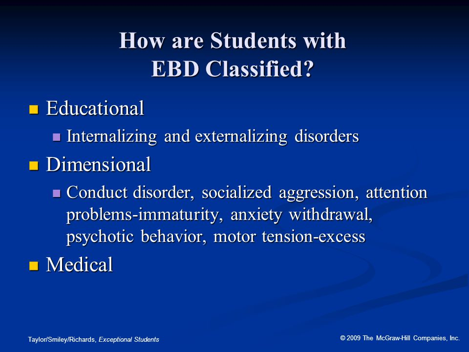 How are Students with EBD Classified
