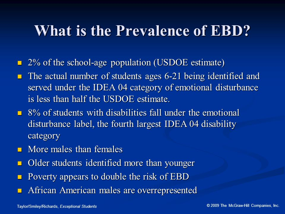 What is the Prevalence of EBD