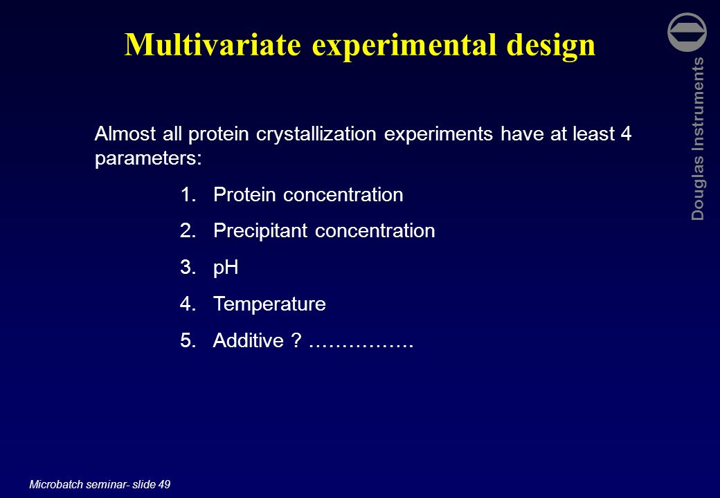 Multivariate experimental design