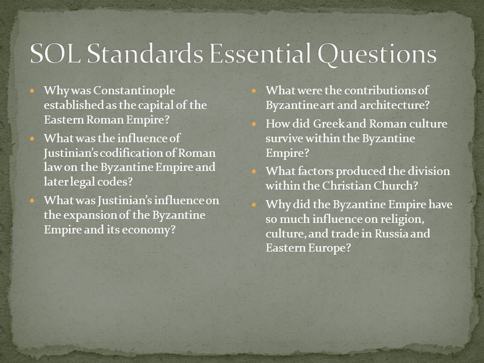 SOL Standards Essential Questions