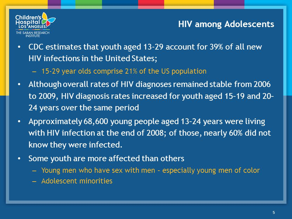 HIV among Adolescents CDC estimates that youth aged account for 39% of all new HIV infections in the United States;