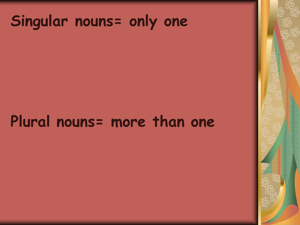 Singular nouns= only one