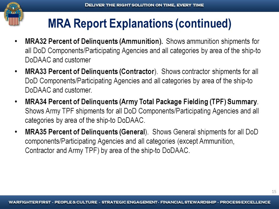 MRA Report Explanations (continued)