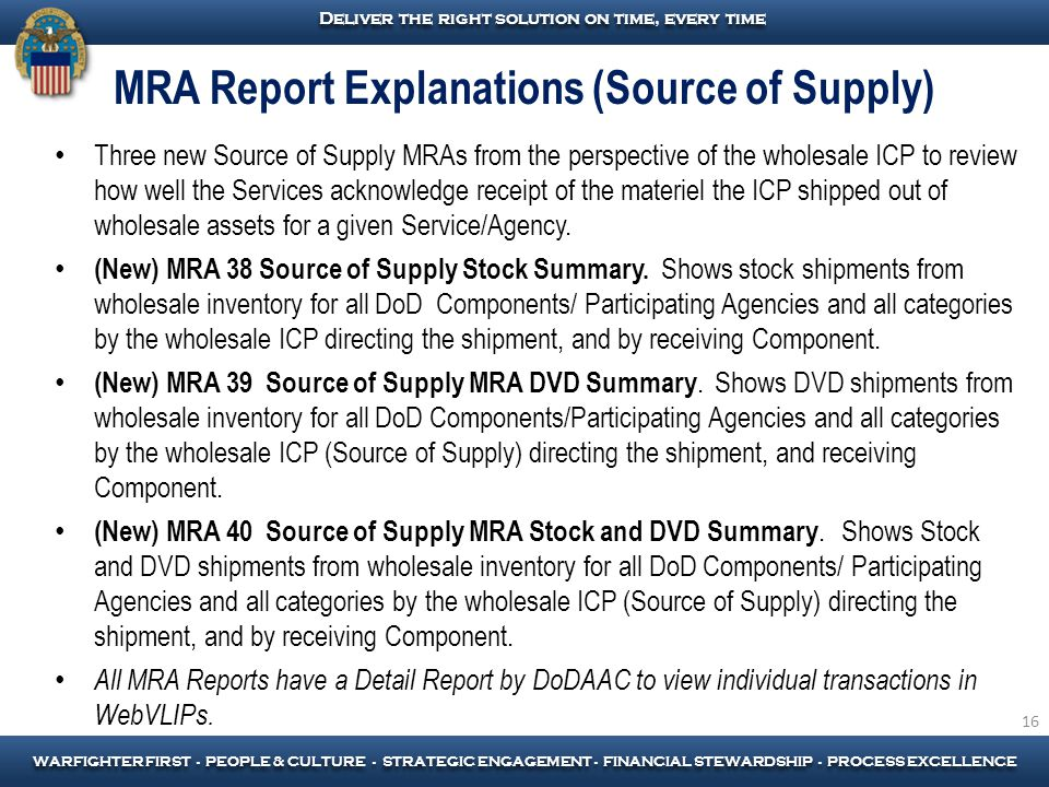 MRA Report Explanations (Source of Supply)