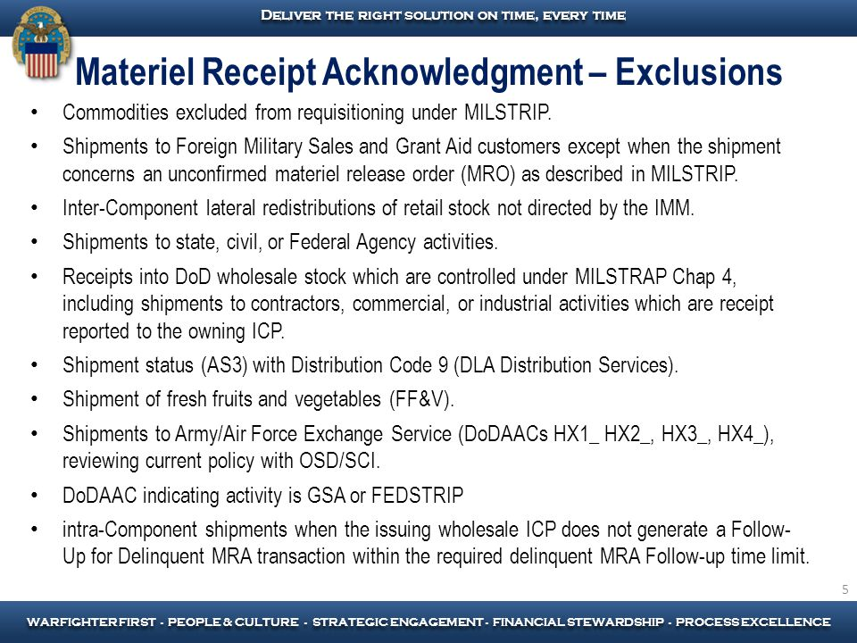 Materiel Receipt Acknowledgment – Exclusions