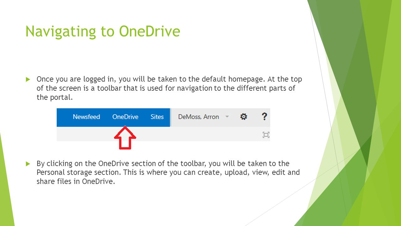 Navigating to OneDrive
