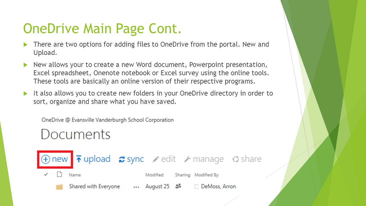 OneDrive Main Page Cont.