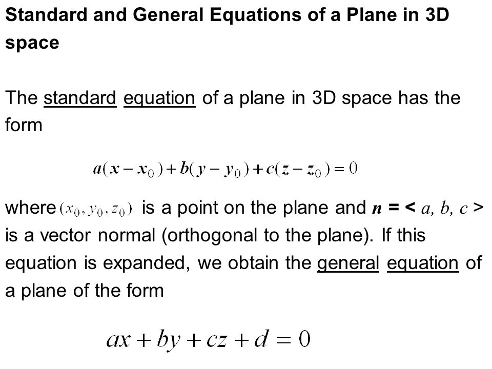 Section 95 Equations Of Lines And Planes Ppt Video Online Download