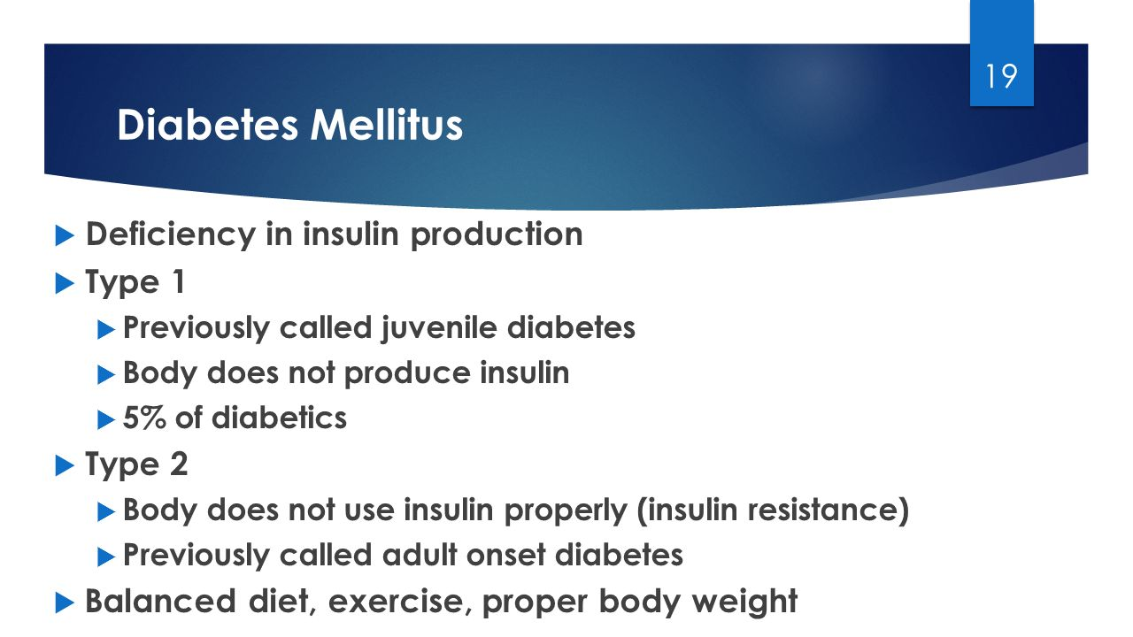Diabetes Mellitus Deficiency in insulin production Type 1 Type 2