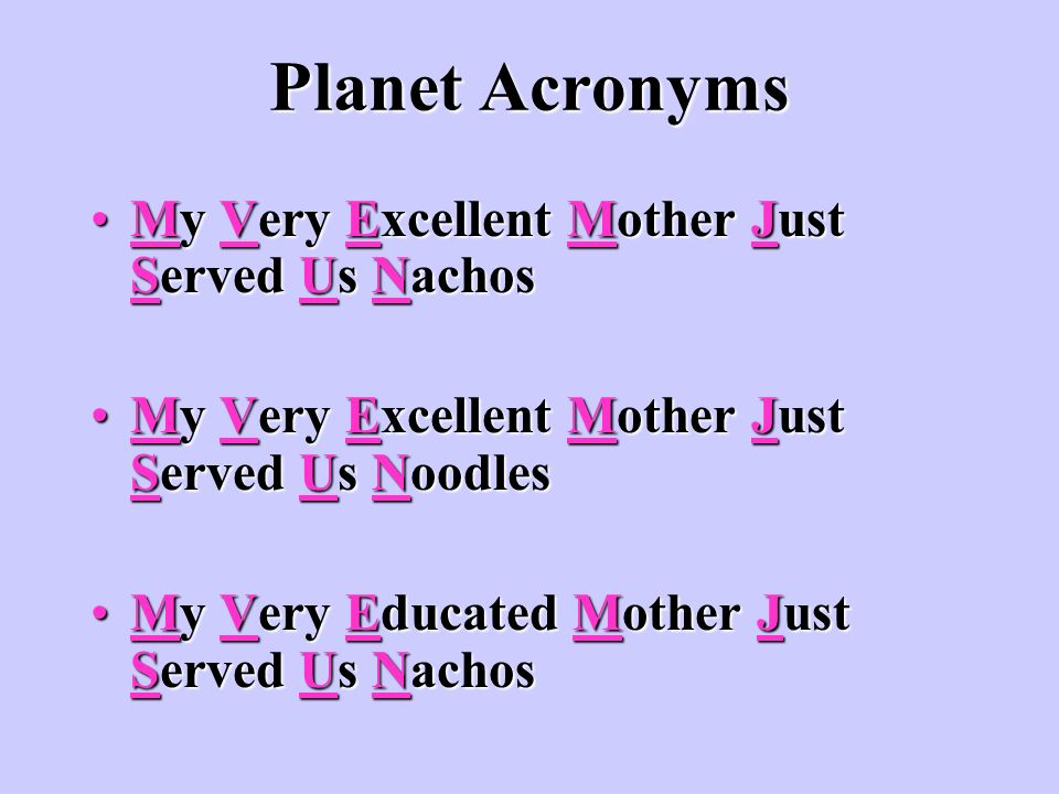 Planet Acronyms My Very Excellent Mother Just Served Us Nachos