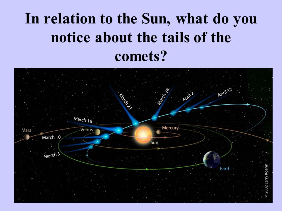 In relation to the Sun, what do you notice about the tails of the comets
