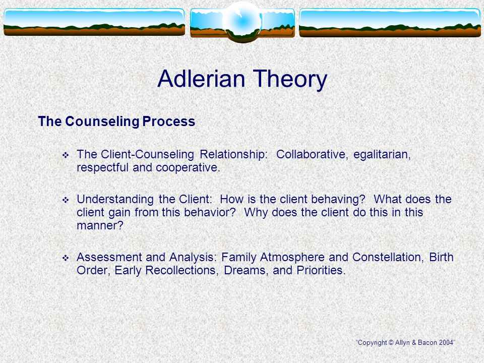 adlerian theory and models of counseling essay Counseling supervision, a process of influencing and training beginning coun- selors, has generally been ill-defined or simplistically characterized in the adierian literature.