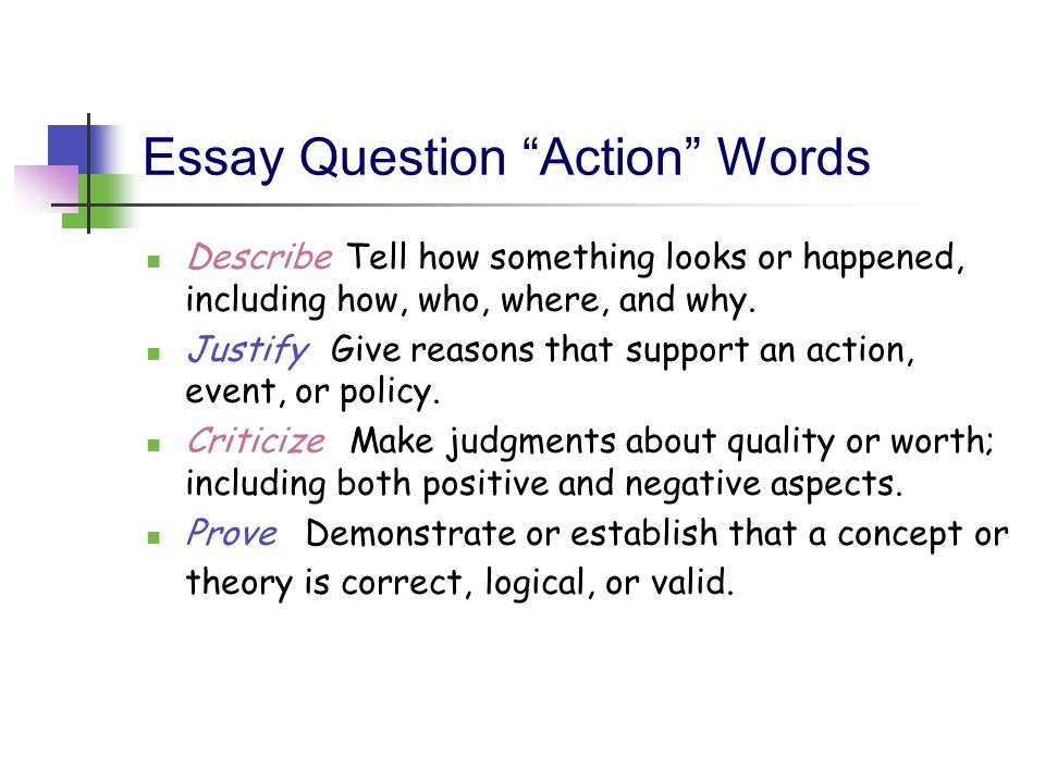 Essay Question Action Words