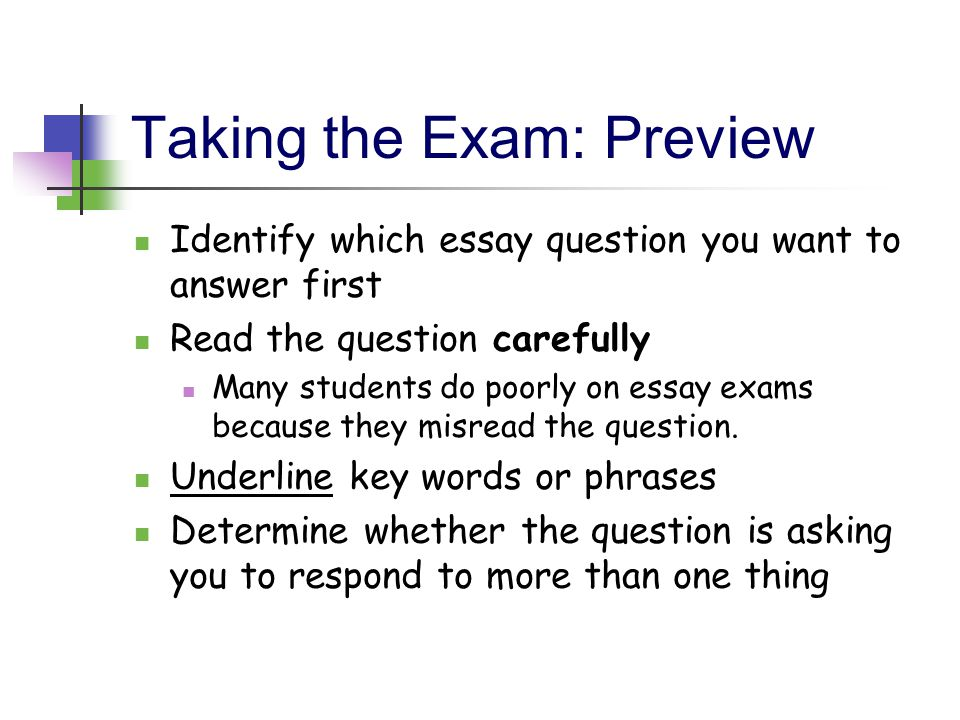Taking the Exam: Preview