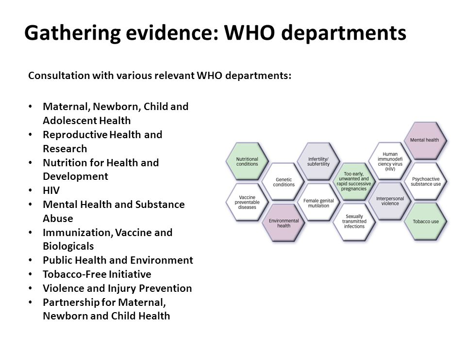 Gathering evidence: WHO departments