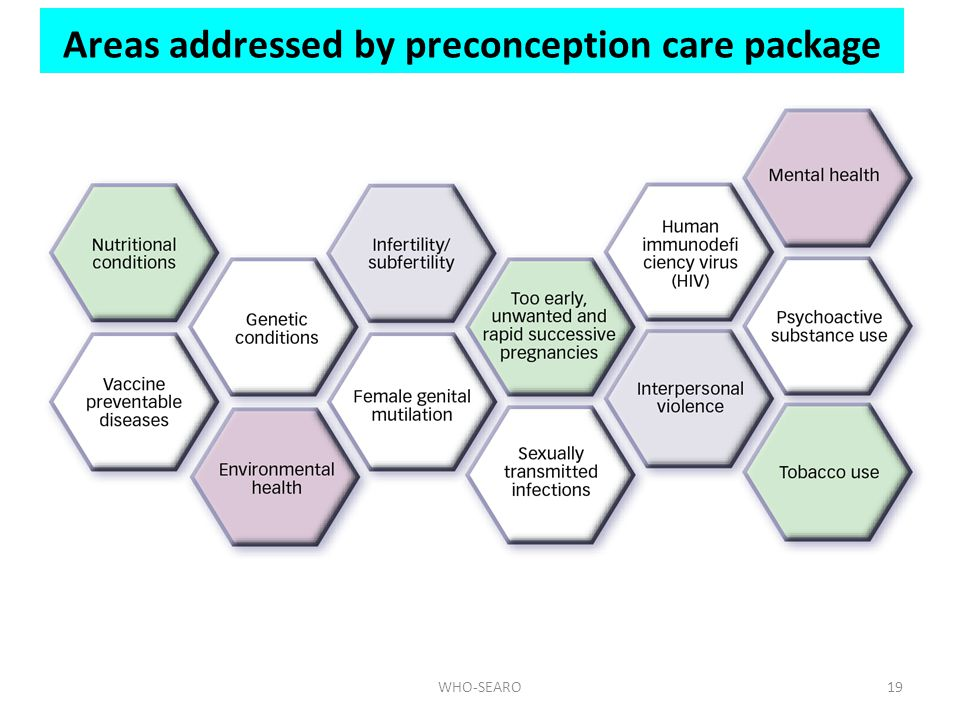 Areas addressed by preconception care package
