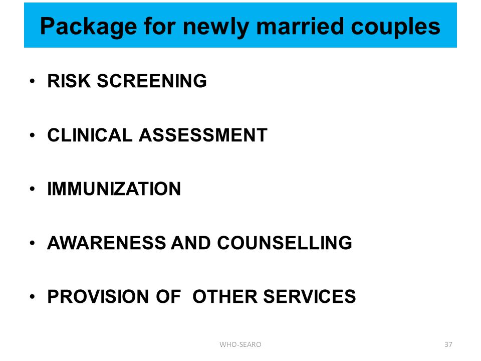 Package for newly married couples