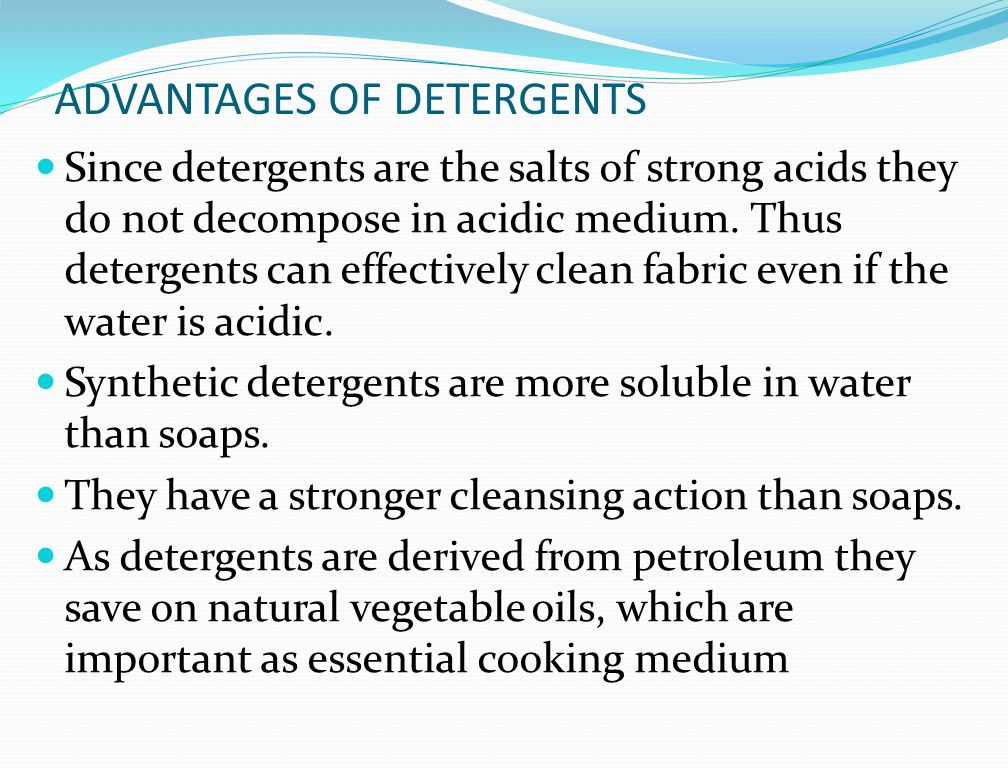 soaps and detergents are