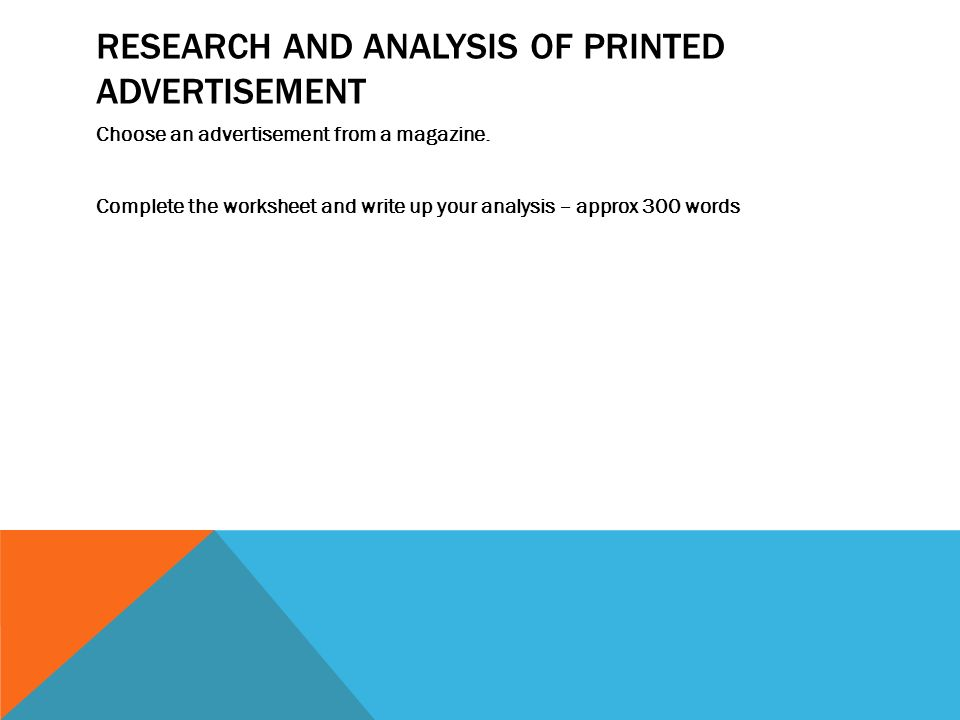 Research and analysis of printed advertisement