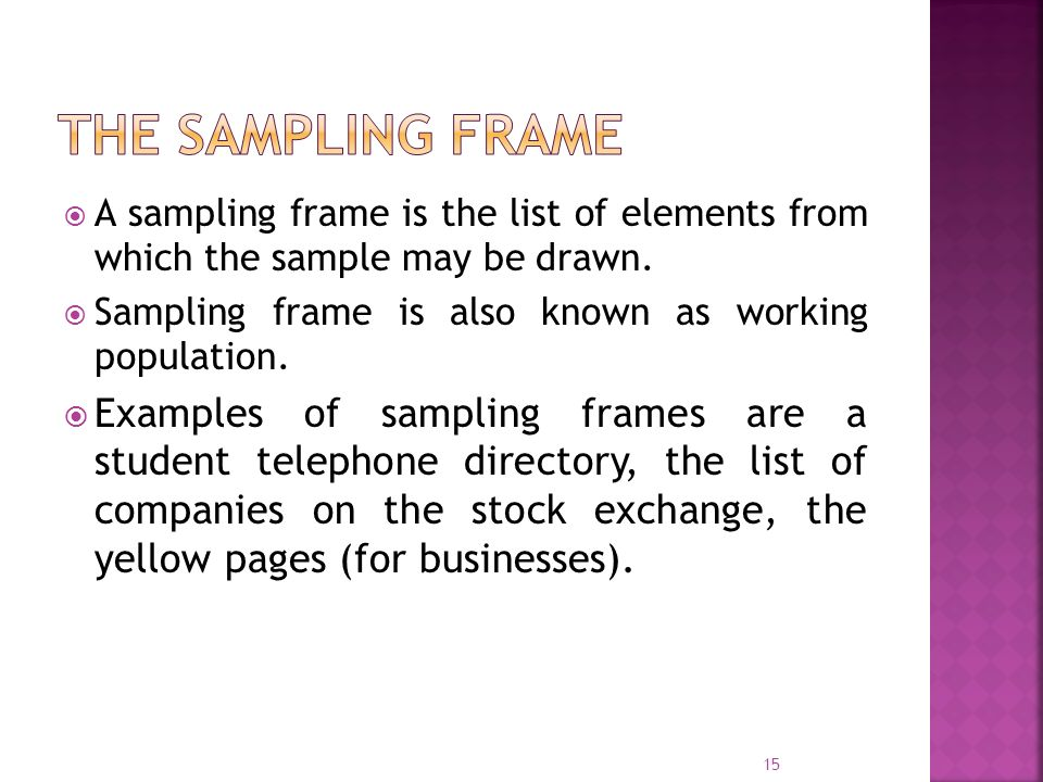 The Sampling Frame A sampling frame is the list of elements from which the sample may be drawn.