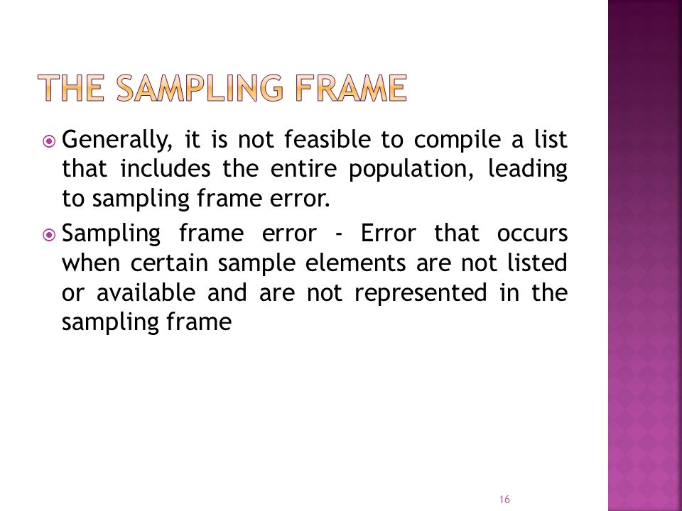 The Sampling Frame Generally, it is not feasible to compile a list that includes the entire population, leading to sampling frame error.