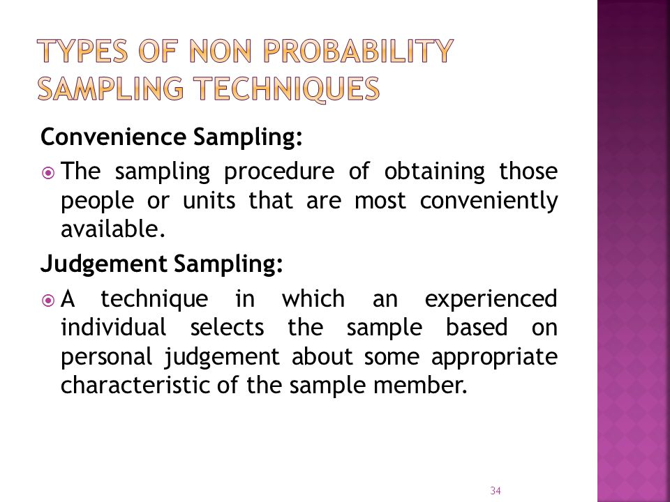 Types of Non probability sampling techniques