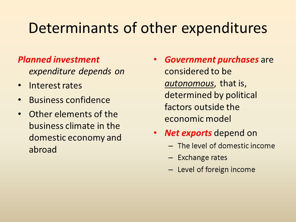 Determinants of other expenditures