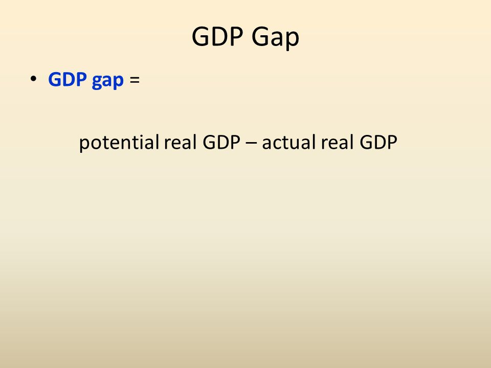 GDP Gap GDP gap = potential real GDP – actual real GDP