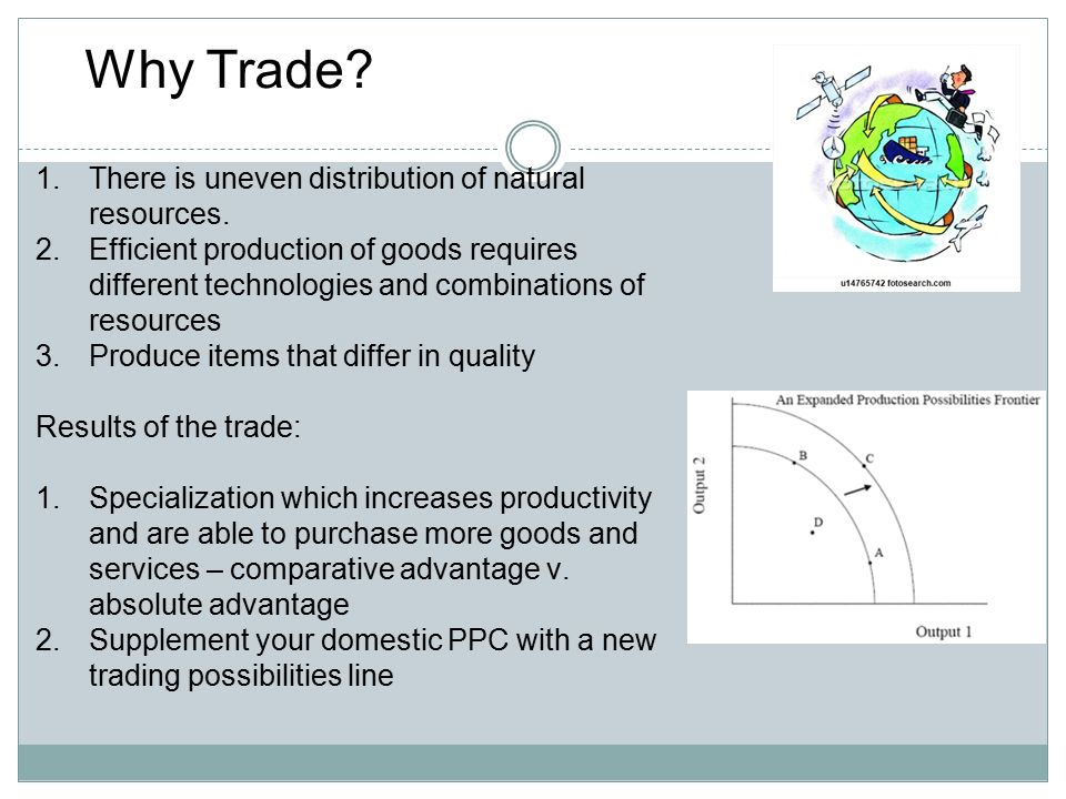 Why Trade There is uneven distribution of natural resources.