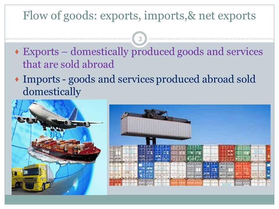 Flow of goods: exports, imports,& net exports