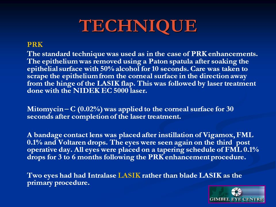 Prk Enhancement With Mitomycin C After Lasik A Case Series Ppt