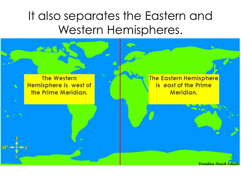 It also separates the Eastern and Western Hemispheres.