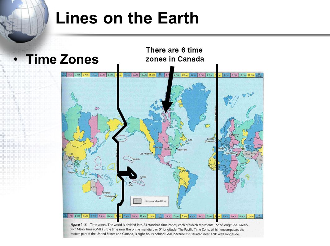 7 lines on the earth there are 6 time zones in canada time zones