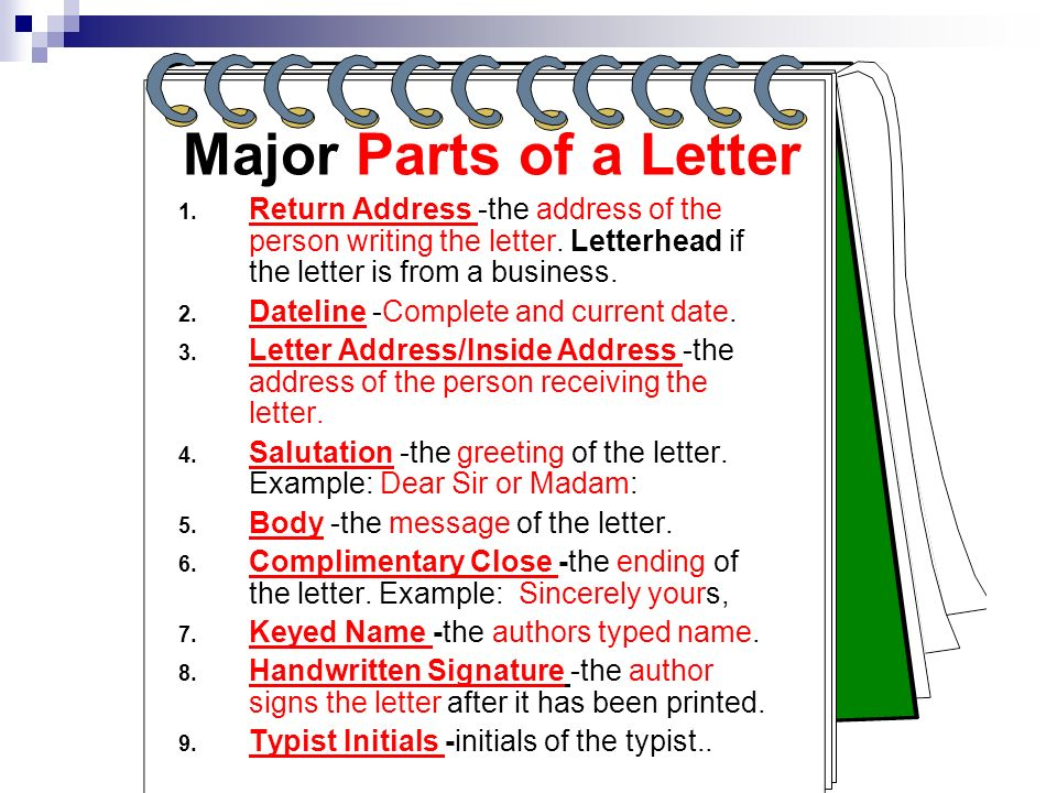 Major Parts of a Letter Return Address -the address of the person writing the letter. Letterhead if the letter is from a business.