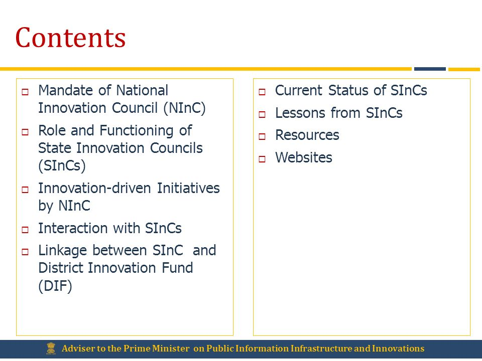 Contents Mandate of National Innovation Council (NInC)