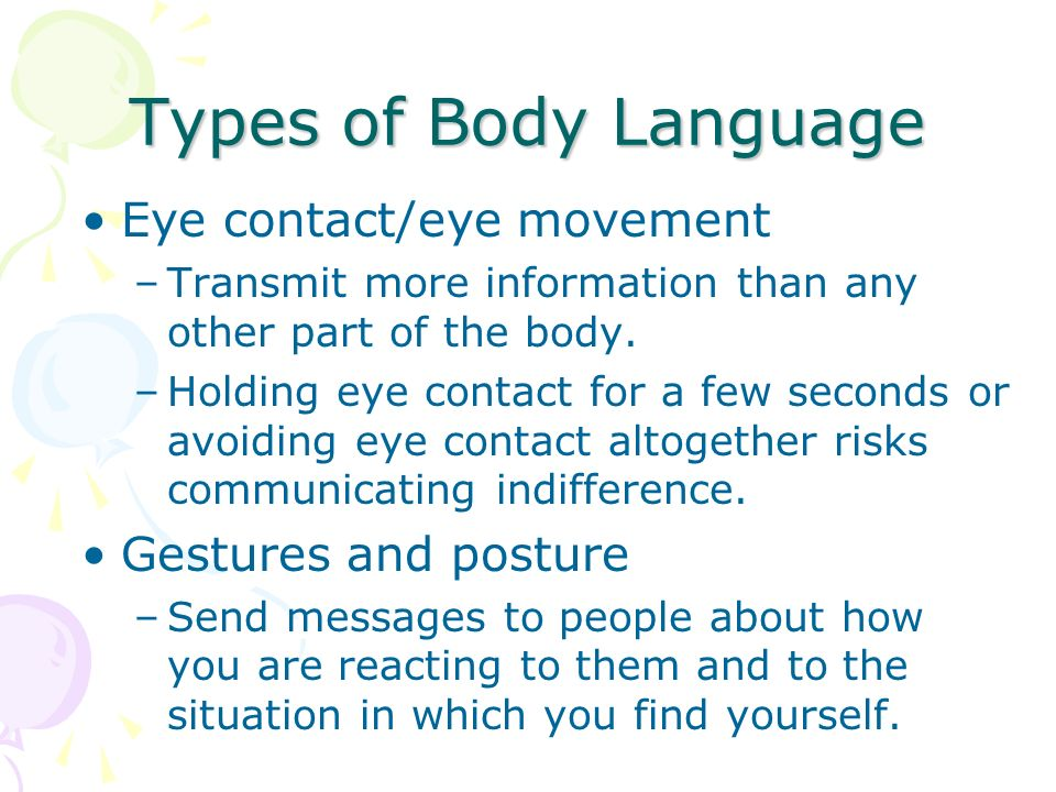 Types of Body Language Eye contact/eye movement Gestures and posture