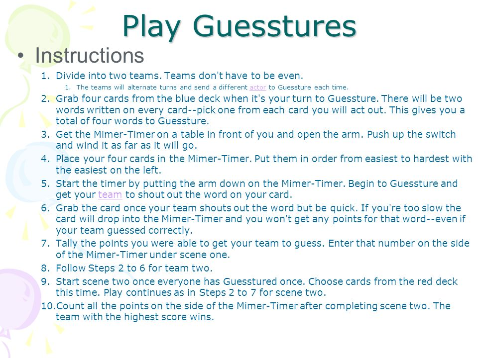 Play Guesstures Instructions