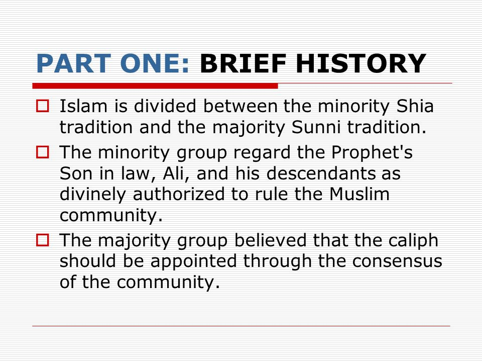 a concise history of sunnis and shiis