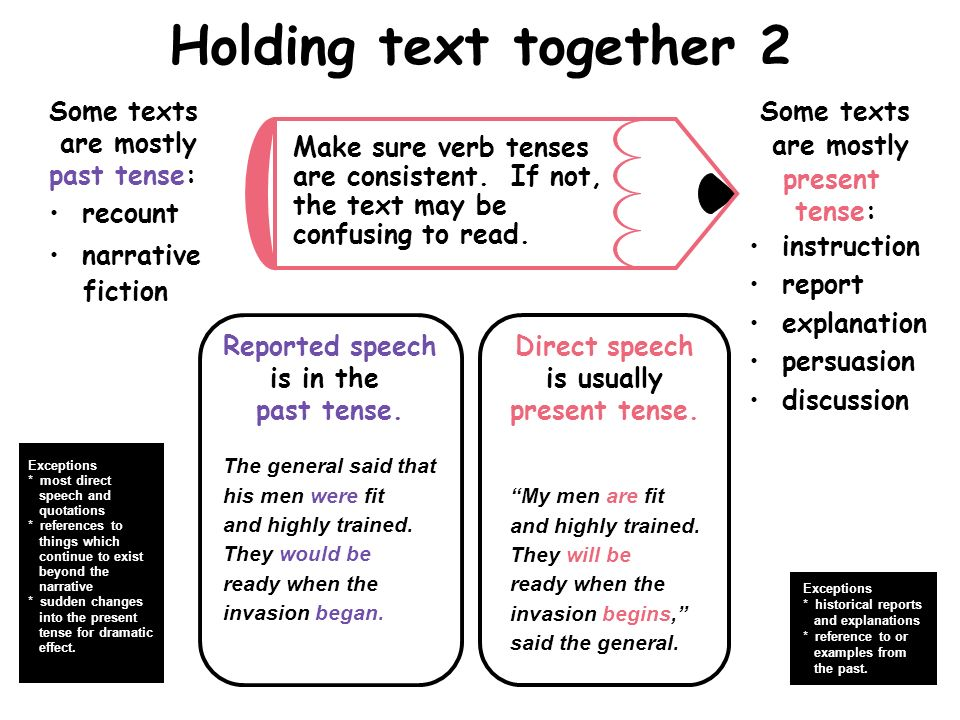 Holding text together 2 Some texts are mostly past tense: recount