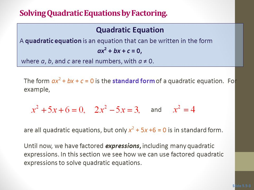 55 Solving Quadratic Equations By Factoring Ppt Video Online Download