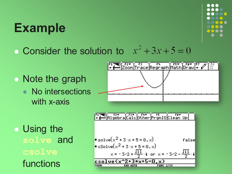 Example Consider the solution to Note the graph