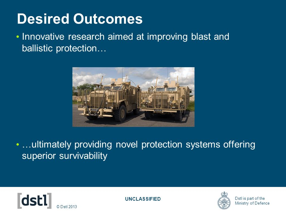 Desired Outcomes Innovative research aimed at improving blast and ballistic protection…