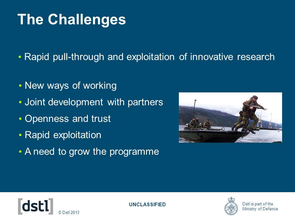The Challenges Rapid pull-through and exploitation of innovative research. New ways of working. Joint development with partners.
