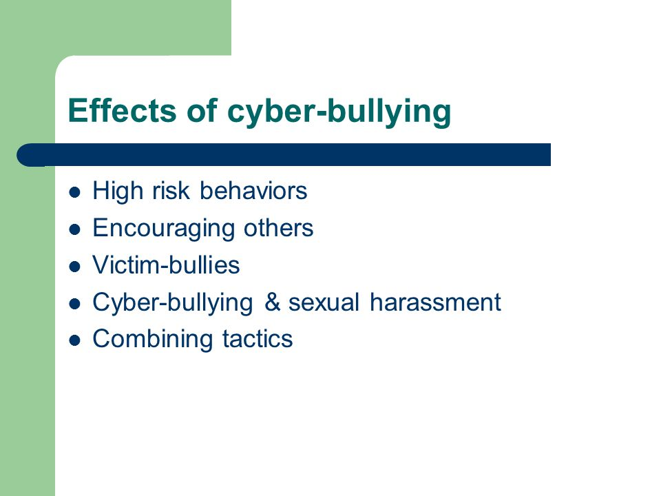 Cyberbullying effects on victims of sexual harassment