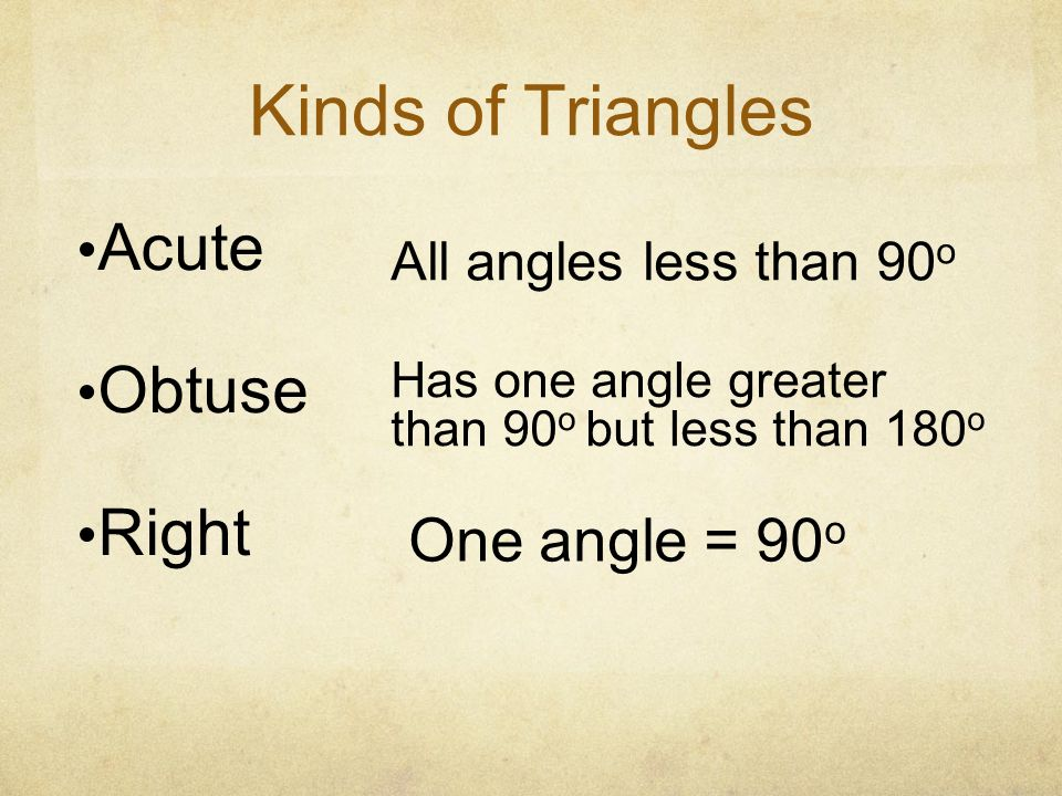Kinds of Triangles Acute Obtuse Right One angle = 90o