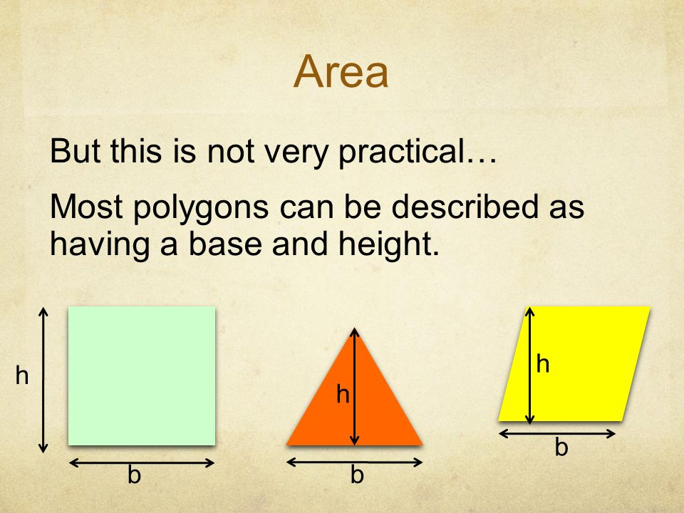 Area But this is not very practical… Most polygons can be described as having a base and height. h.