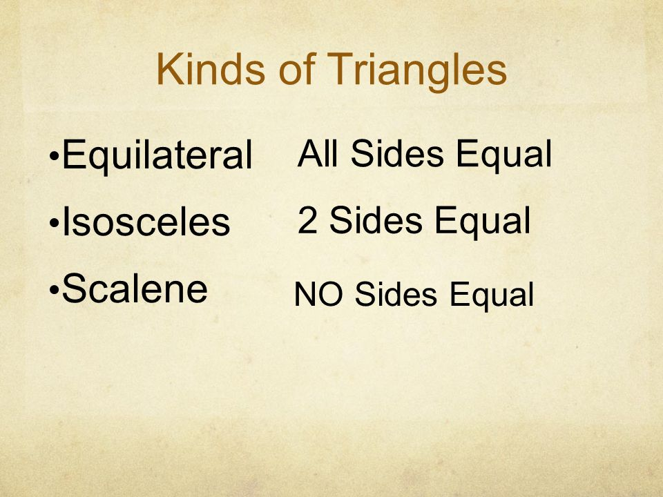 Kinds of Triangles Equilateral Isosceles Scalene All Sides Equal