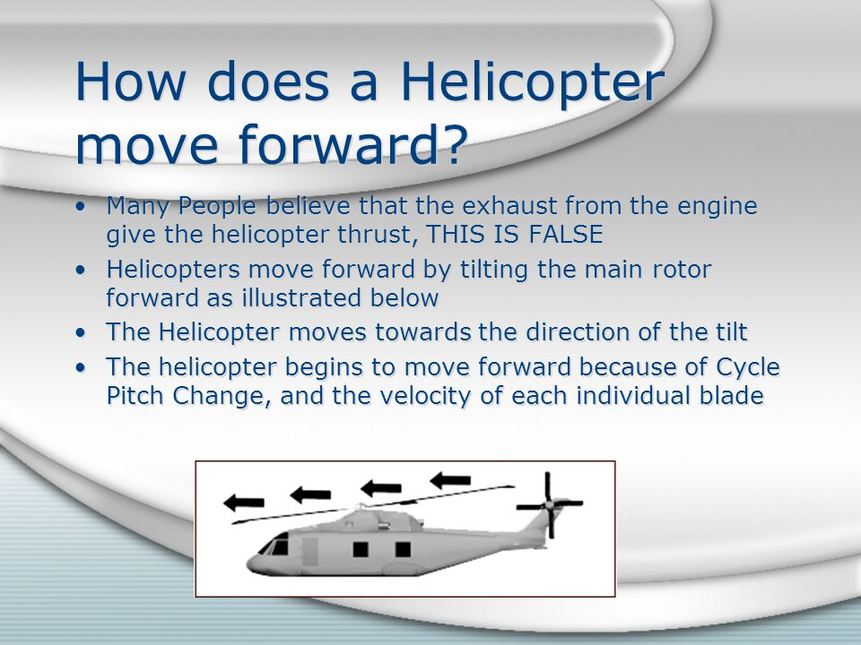 How does a Helicopter move forward