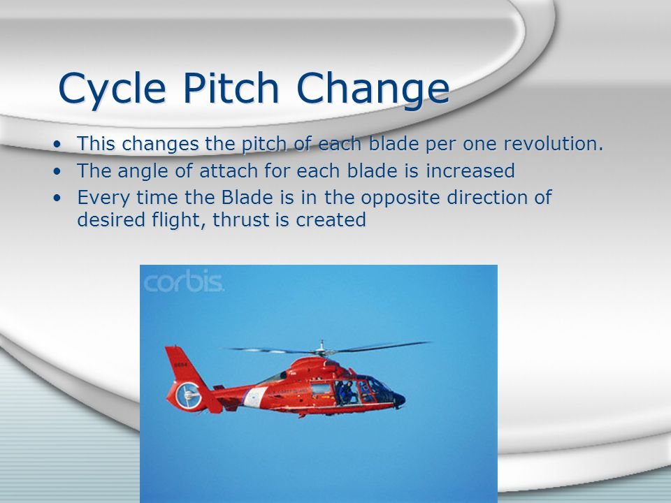 Cycle Pitch Change This changes the pitch of each blade per one revolution. The angle of attach for each blade is increased.